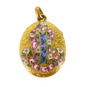 Antique Victorian Gold Filled AEI Floral Enamel Locket Pendant