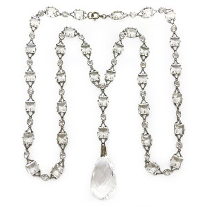 VINTAGE ART DECO PLATINON CUT GLASS DROP PANEL OPEN BACK PLATINON NECKLACE