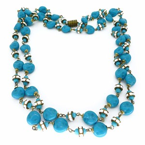 Vintage 1950s French Dimpled Blue Glass White Rondelle Bead Necklace