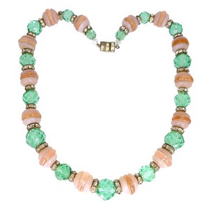 Vintage Art Deco Pink & Green Glass Bead Paste Rondelle Necklace