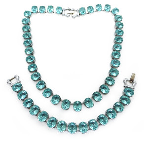 Vintage Mid Century Rhodium Plated Aqua Blue Glass Necklace & Bracelet Set Sold Out