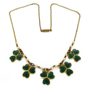 VINTAGE 1940S MIZPAH ENAMELLED LUCKY CLOVER SWEETHEART NECKLACE