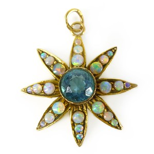 Vintage 9ct Gold Opal & Paste Starburst Pendant Charm