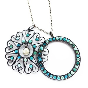 VINTAGE RUSSIAN SILVER TURQUOISE & PEARL FLORAL CIRCULAR PENDANT NECKLACE