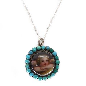 ANTIQUE EDWARDIAN SILVER HAND PAINTED CHERUB TURQUOISE LOCKET PENDANT NECKLACE