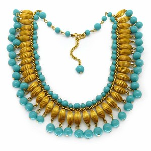 Vintage Mid Century Blue & Gold Glass Bead Tassel Drop Necklace
