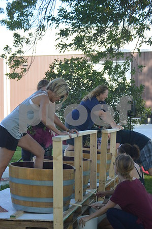 Competitors try their best to produce as much juice as possible in a grape-stomping contest.