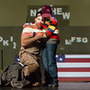 Baritone David Adam Moore is the Soldier and actor Ryan Singer is the Child in San Diego Opera's SOLDIER SONGS. November, 2016. Photo copyright Karli Cadel.