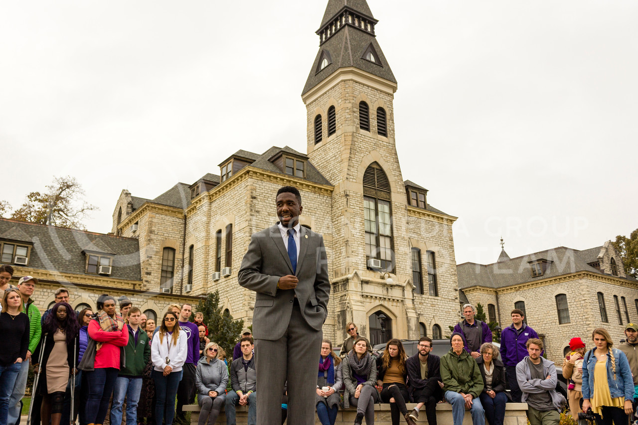 Malik Burton, president of the Black Student Alliance at Iowa State addresses the Black Student Union at Kansas State and the Big XII Council on Black Student Government as well as the Manhattan Community during a Solidarity Rally on Nov 4, 2017 (Alex Shaw | Collegian Media Group)