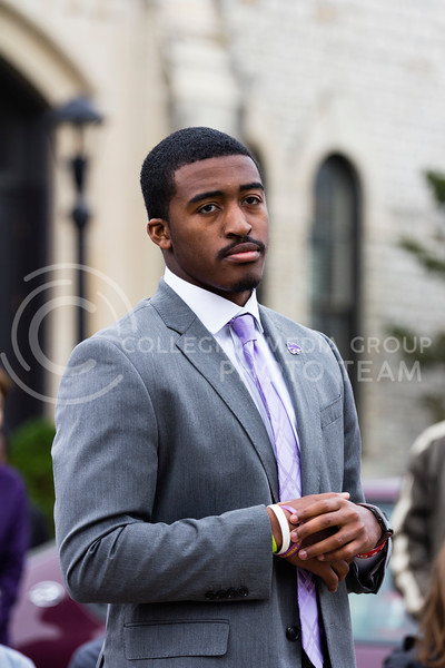 Darrell Reese Jr, President of the Black Student Union at Kansas State addresses the Black Student Union at Kansas State and the Big XII Council on Black Student Government as well as the Manhattan Community during a Solidarity Rally on Nov 4, 2017 (Alex Shaw | Collegian Media Group)