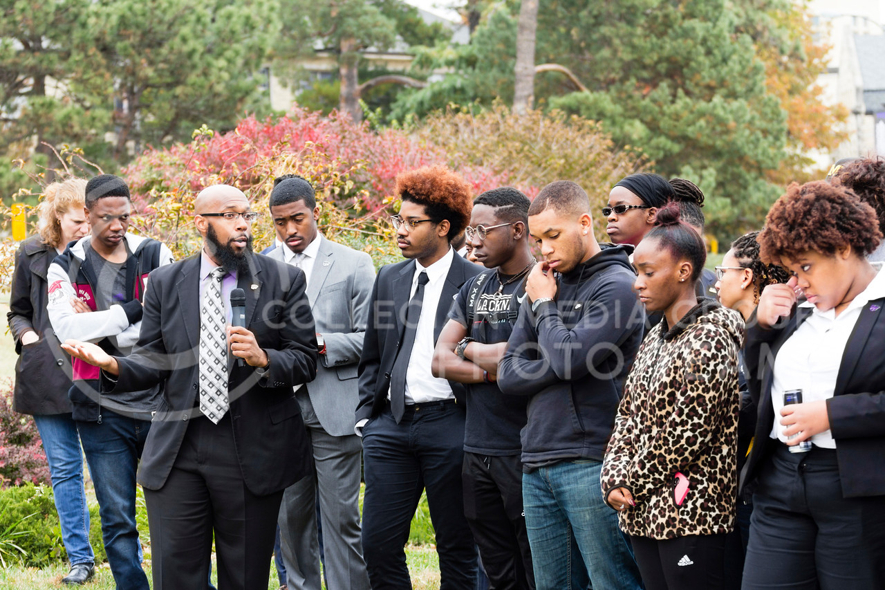 Brandon L Clark Advisor for the Black Student Union at Kansas State addresses the Black Student Union at Kansas State and the Big XII Council on Black Student Government as well as the Manhattan Community during a Solidarity Rally on Nov 4, 2017 (Alex Shaw | Collegian Media Group)