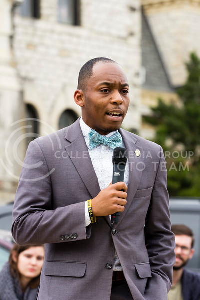 Bryan Davis, Chair of the Big XII Council on Black Student Government addresses the Black Student Union at Kansas State and the Big XII Council on Black Student Government as well as the Manhattan Community during a Solidarity Rally on Nov 4, 2017 (Alex Shaw | Collegian Media Group)