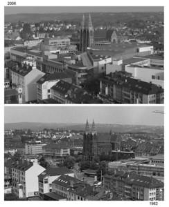 Bilck aus dem obersten Stockwerk des Turmhotels nach Osten: Oben 2006, unten 1982