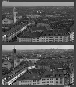 Bilck aus dem obersten Stockwerk des Turmhotels nach Süden: Oben 2006, unten 1982