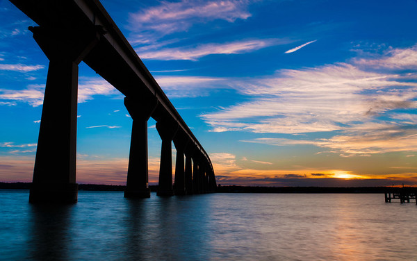 Sunset and Bridge over Solomon's Island, Maryland