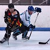 Bob Chalmers slips by Jared Owen but finds another Blackburn D-Man in his way
