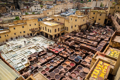 Chaouwara Tanneries - surrounded by shops selling leather goods;  visitors are offered the chance to view the tanneries from above from a balcony or roof-top. Shop staff give an overview of the dying process, as the distinct odour of leather and dye fills the air