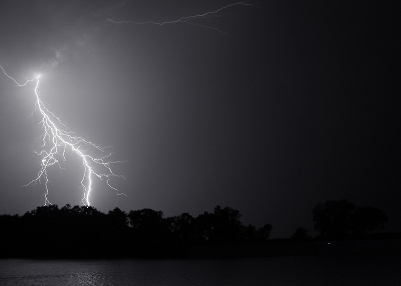 This lighting photo appears to have captured the beginning point of the strike.