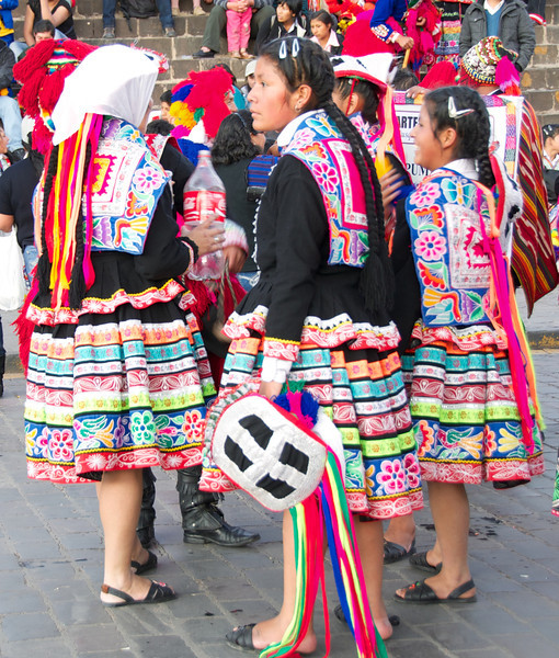 Girls in traditional Peruvian costumes. Cusco, Peru