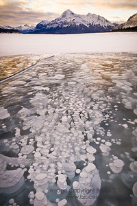 Frozen bubbles - big and small - on Abraham Lake