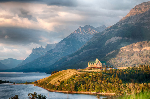 Early morning photograph of the Prince of Wales Hotel, Waterton, Alberta Canada