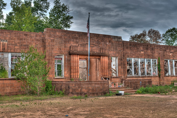 Old Glory still flies over Prospect School<br /> built by the WPA in the early 40s