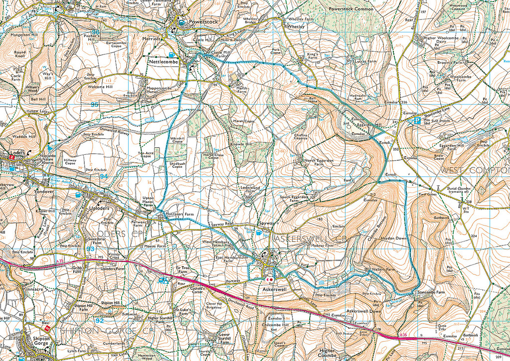 The actual route taken is shown in blue, and we went clockwise.