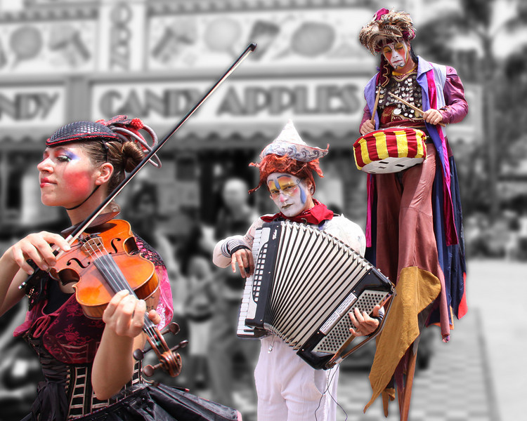 Del Mar Fair, 2009.  These were strolling musicians.  Steve Rowell provided the expertise, helping me with the effects for this image.