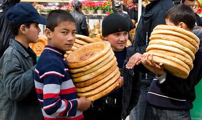 Bread sellers, Uzbekistan