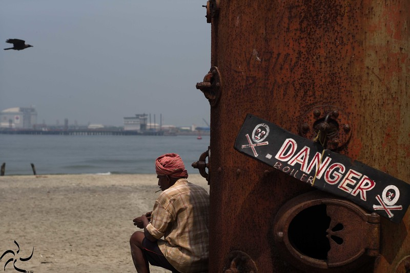 Kerala - Fort Kochi - tanker on the beach