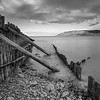 The beach at  Porlock weir  in Black & White