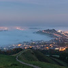 The town of Glastonbury Pre dawn with rolling mist