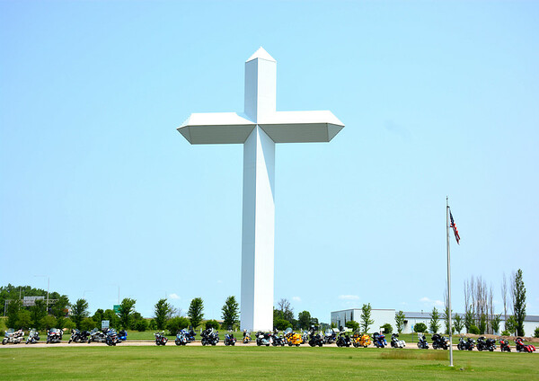 About 50 motorcycles gathered at The Cross in Effingham for the annual Son Rise Ride with the Road Riders for Jesus international motorcycle ministry. Dawn Schabbing photo