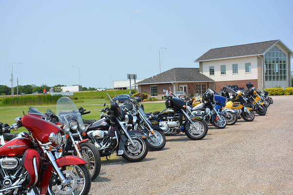 Motorcyles line the driveway at the Chapel nearby The Cross in Effingham. Dawn Schabbing photo