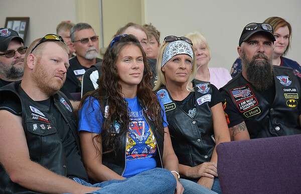 Four Road Riders for Jesus listen to Carl Crackel, the founder and director of the International Road Riders for Jesus organization, speak inside the chapel at The Cross in Effingham on Saturday. Shown from left are: Josh Collins, Kristy Collins, April Overbey and Tim Overbey, all of Oakland City, Indiana and members of RRFJ Chapter 112. Dawn Schabbing photo
