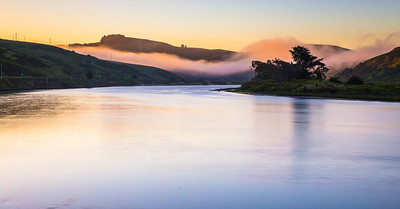 It all began with pink hues before sunrise only to later take warmer orange/red tones just before sunrise. The fog is signature of climate of sonoma valley and San Francisco.