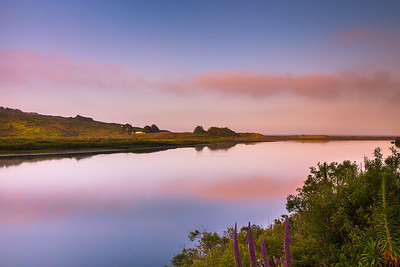 Early morning hues as Russian river meets the Pacific Ocean in the wine country of California