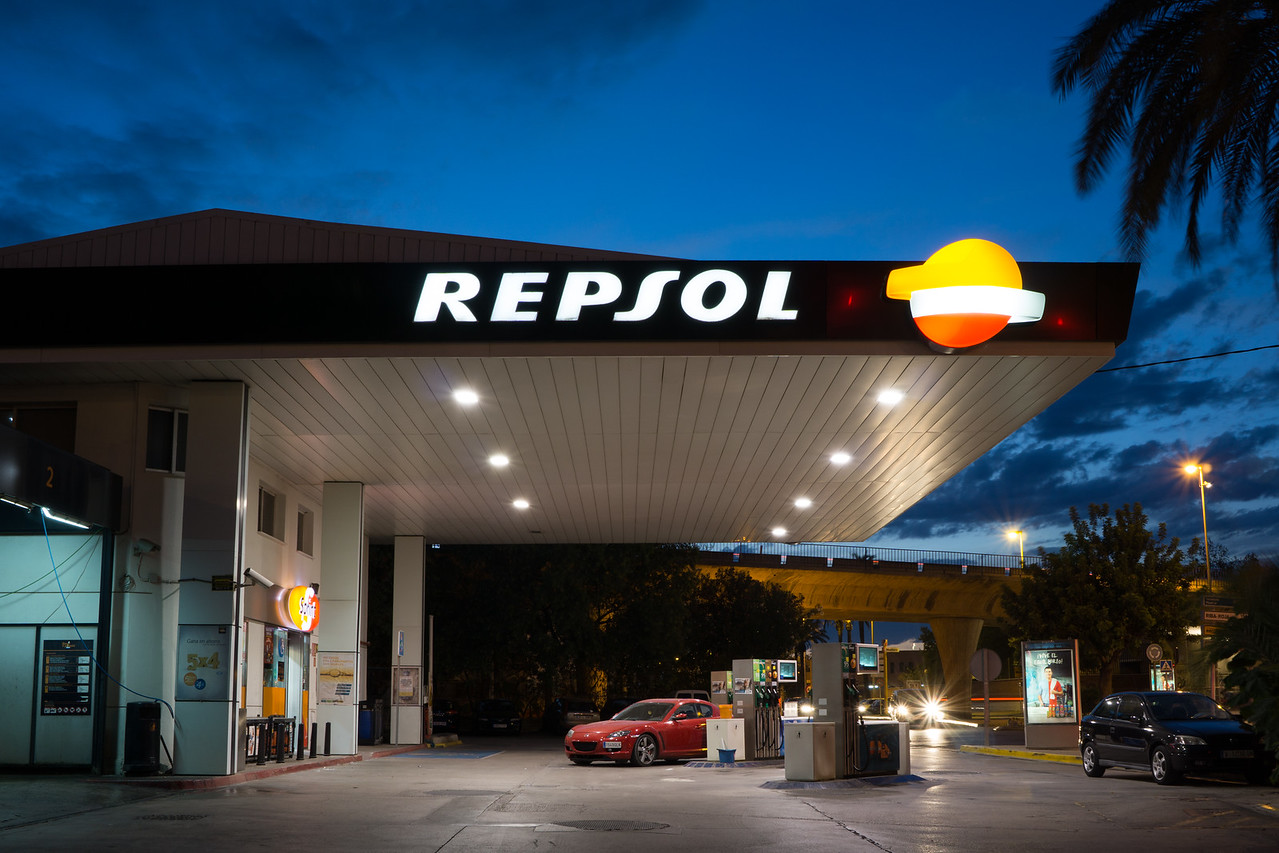 Repsol Gas Station in Early Evening