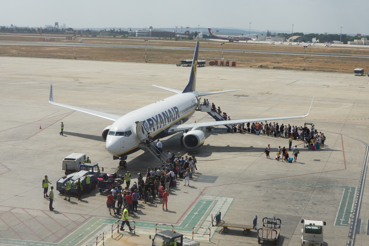 Valencia, Spain: Passengers boarding a Ryanair flight.