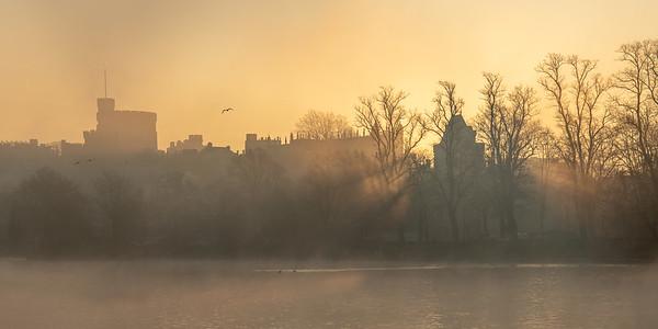 Golden sunrise over the castle