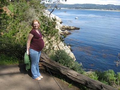 A very pregnant Kim exploring Point Lobos