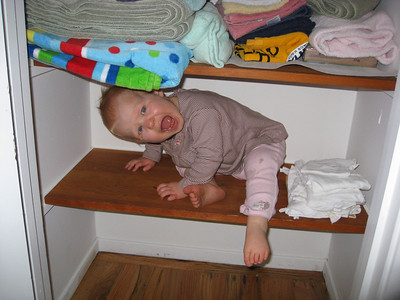 Sophie got stuck while helping put things away in the new closet