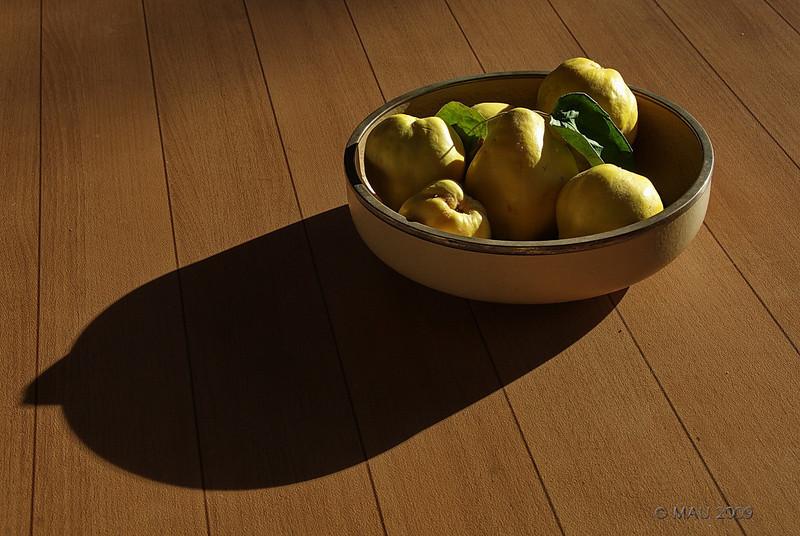 """26-10-2009<br /> <br /> """"Cuenco de membrillos"""" - La foto no está preparada. Hace unos días un vecino regaló unos membrillos a mi mujer y los dejó ahí, en el cuenco que está normalmente en la mesa del porche. Yo solo tuve que esperar unas horas a que bajara el sol y proporcionase la luz que yo quería.<br /> <br /> """"Bowl of quinces"""" - The photo is not setup. A few  days ago a neighbour gave a few quinces to my wife and she left them there, in the bowl that is normally on the table in the front porch. I only had to wait a few hours for the Sun to go down and provide the light I wanted."""