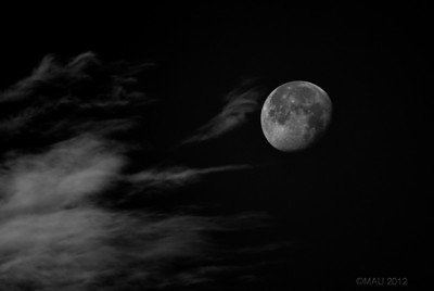 """07-Jun-2012  """"Hoy he hecho una foto"""" - Ultimamente hago muy pocas fotos. Desde el 23 de abril no publicaba ninguna y, desde entonces, solamente había hecho otra el 15 de mayo, que seguramente publicaré mañana. La de hoy, está hecha esta mañana a las 8:17. Es decir, a plena luz del día y a mano alzada sin trípode. Al contrastarla para resaltar los detalles de la luna, quedaba un cielo azul demasiado feo y oscuro, por eso he decidido pasarla a ByN.  """"I've taken a shot today"""" - I take very few pictures lately. I had not uploaded any since April 23rd and, since then, I only took another shot on May 15th that I will probably upload tomorrow. Today's one was taken this morning at 8:17. That is, at full daylight, hand held with no tripod. When contrasting it to highlight the details of the moon, I ended up with an ugly dark blue sky. That is why I decided to convert it to B&W."""