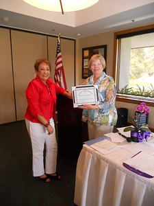 President Cherie presents 2012 Soroptimist of the Year Award to Kaye Van Nevel