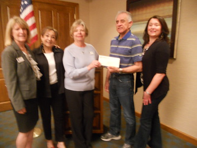 L-R: Jackie Piro, Kaye Van Nevel, Cherie Wilson (all of SI-Vista) with Guadalupe Foundation's Michael Bravo Lopez and Lisa Garcia-Ruiz after check presentation.