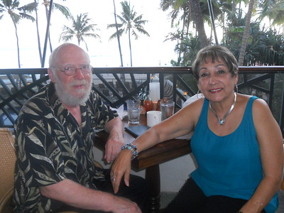 Cherie and Steve Wilson having dinner at the Hula Restaurant and waiting for the sun to set.