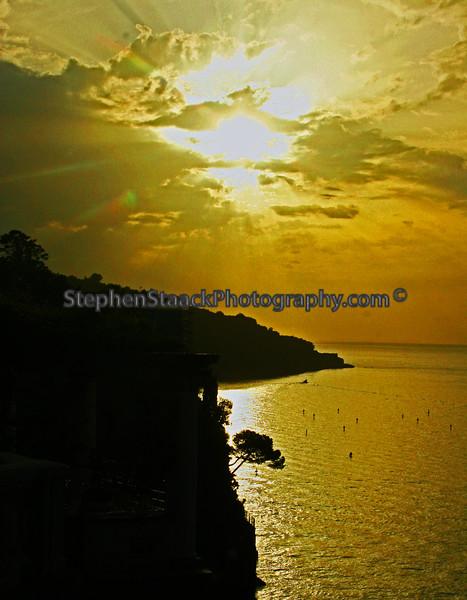 Sunset over the Sorrento, Italy coastline.