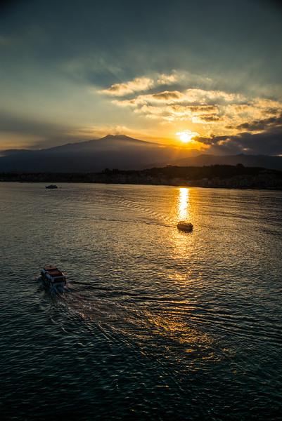 Sunset over Mt Etna