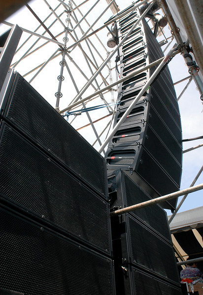 Meyer Milo line array on Stage 1 at the New Orleans Jazz & Heritage Festival on April 28, 2006.